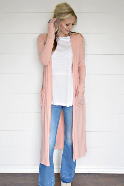 Take a Break Light Coral Duster Cardigan - Melissa Jean Boutique