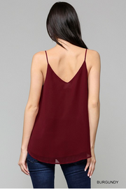 Burgundy V-Neck Scalloped Lace Top - Melissa Jean Boutique