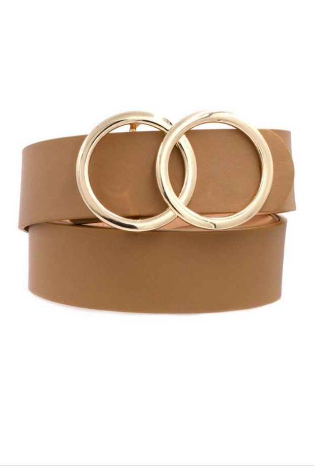 Oh So Chic Taupe Double O Belt - Melissa Jean Boutique