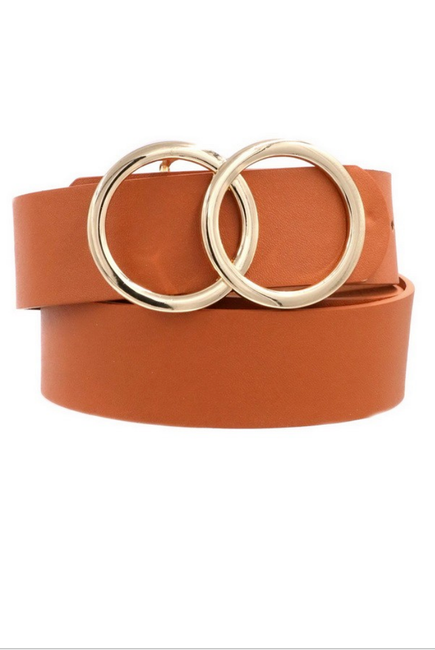 Oh So Chic Tan Double O Belt - Melissa Jean Boutique