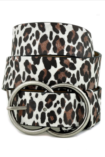 Leopard Leatherette Double Circle Belt - Melissa Jean Boutique