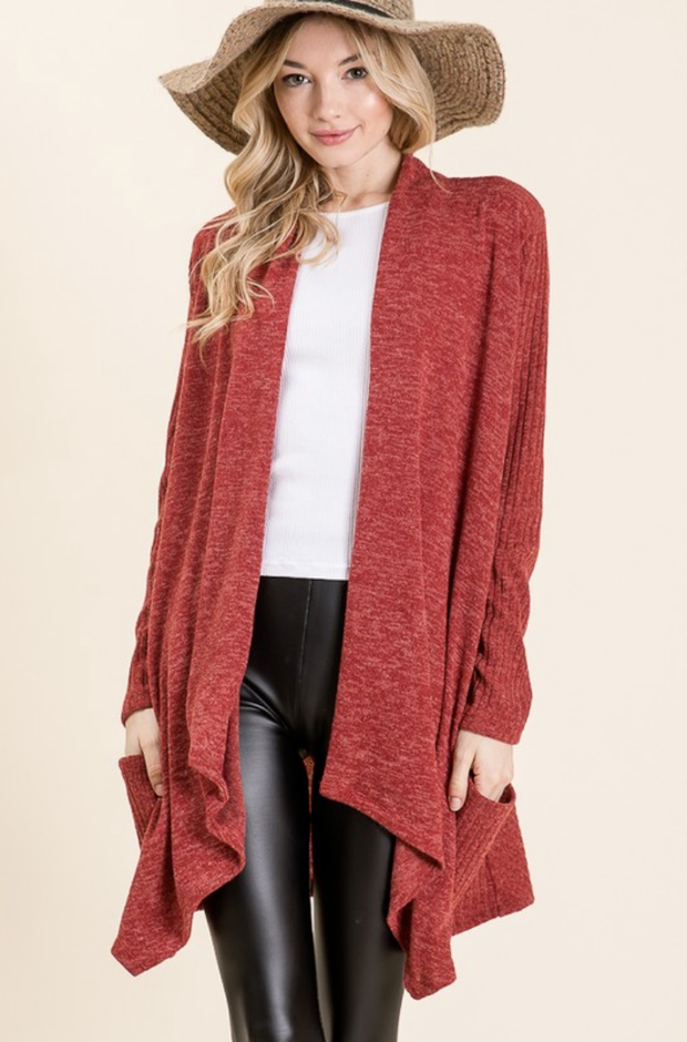 Kicking it Back Rust Cardigan - Melissa Jean Boutique