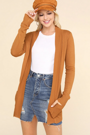 Cozy Golden Camel Cardigan with Pockets - Melissa Jean Boutique