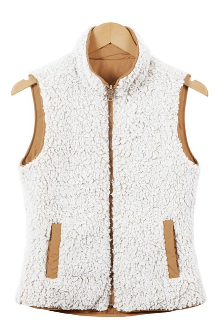 Sherpa Reversible Puffer Vest with Pockets - Melissa Jean Boutique
