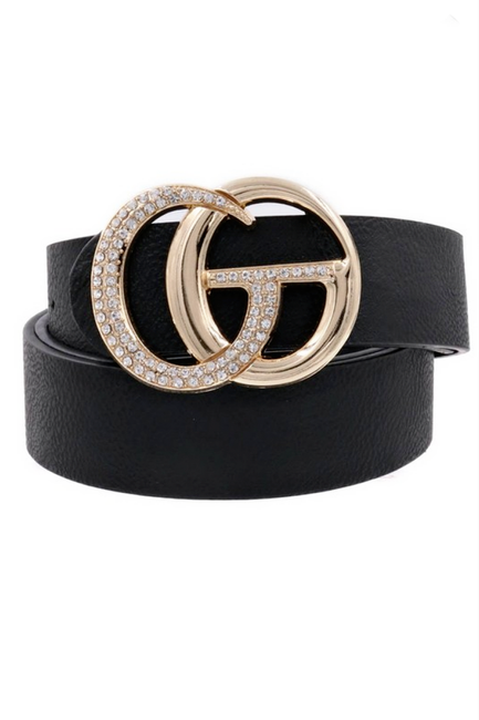 GiGi Rhinestone Black Belt - Melissa Jean Boutique