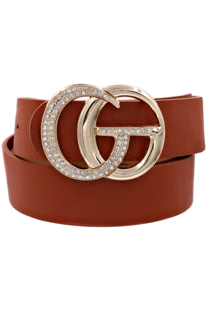 GiGi Rhinestone Cognac Brown Belt - Melissa Jean Boutique