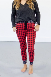 Red Buffalo Plaid Check Joggers - Melissa Jean Boutique