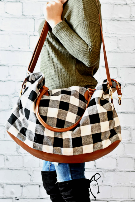 Buffalo Plaid Check Weekender Bag