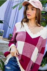Wine Distressed Plaid Sweater - Melissa Jean Boutique