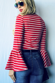 Red Striped Bell Sleeve Top - Melissa Jean Boutique