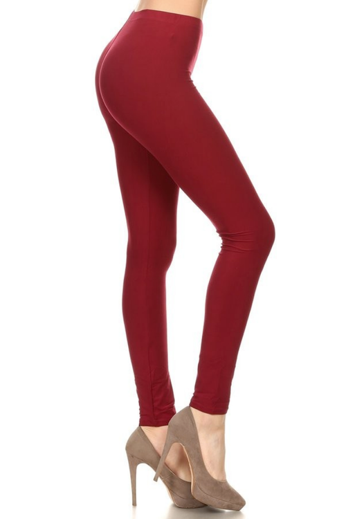 Burgundy Basic High Waist Leggings - Melissa Jean Boutique