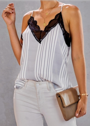 Lover Girl Stripes and Lace Cami - Melissa Jean Boutique