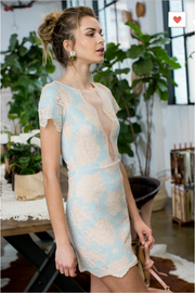 Divine Lace Light Blue Dress - Melissa Jean Boutique