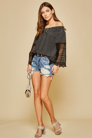 Polka Dots and Lace Top - Melissa Jean Boutique
