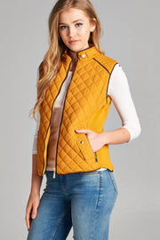 Mustard Quilted Vest - Melissa Jean Boutique