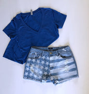 Stars and Stripes Jean Shorts - Melissa Jean Boutique