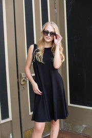 Molly Ann Pocket Dress in Black - Melissa Jean Boutique