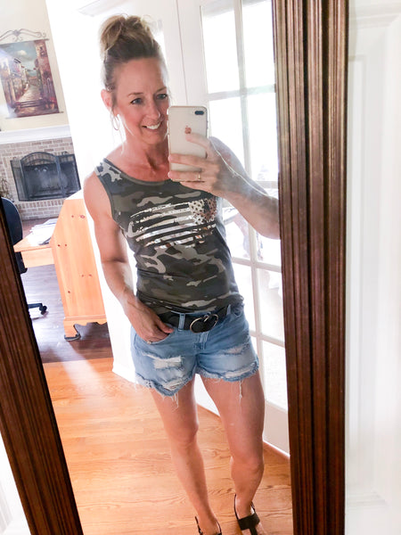 Metallic Flag Sleeveless Camo Top *MJB Exclusive! - Melissa Jean Boutique