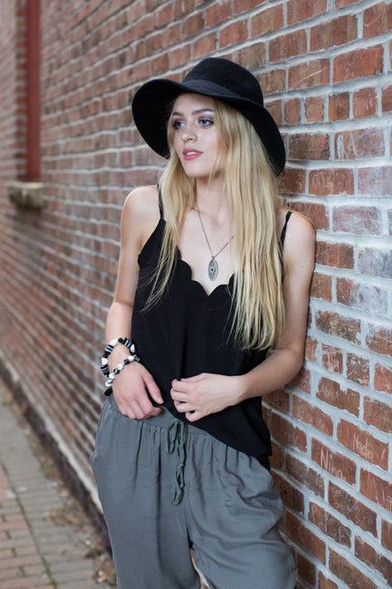 Black Scallop Cami Tank Top