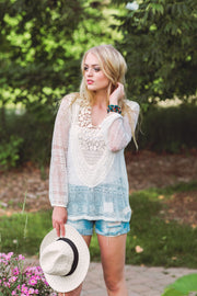 Off White Lace Trimmed Blouse
