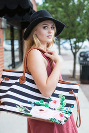 Take me with you Stripe and Floral Tote Bag - Melissa Jean Boutique