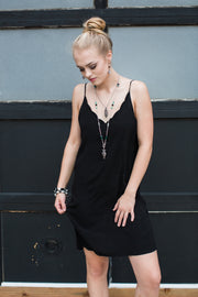 Black Scalloped Cami Slip Dress - Melissa Jean Boutique