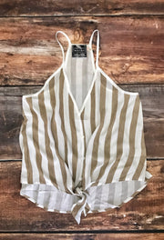 Camel and White Stripe Tie Top