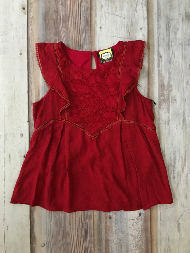 Ruffe and Lace Sleeveless Red Top - Melissa Jean Boutique