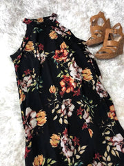 Black Floral Halter Dress