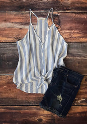 Blue and White Stripe Tie Top - Melissa Jean Boutique
