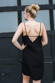 Black Scalloped Cami Slip Dress