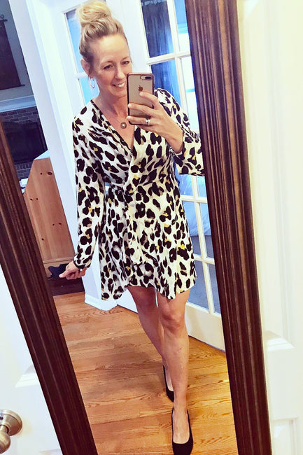 Twisted Leopard Print Dress - Melissa Jean Boutique