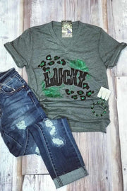 Feeling Lucky V-Neck Tee - Melissa Jean Boutique