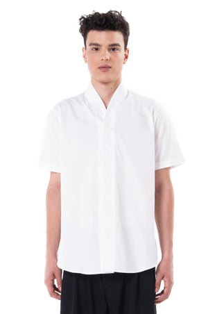 White Collarless Short Sleeves Shirt Part 2