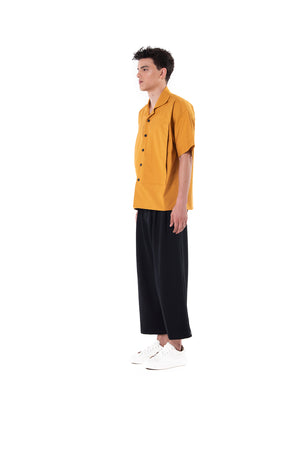 Yellow Camp Short Sleeves Shirt With Extra Large Pockets