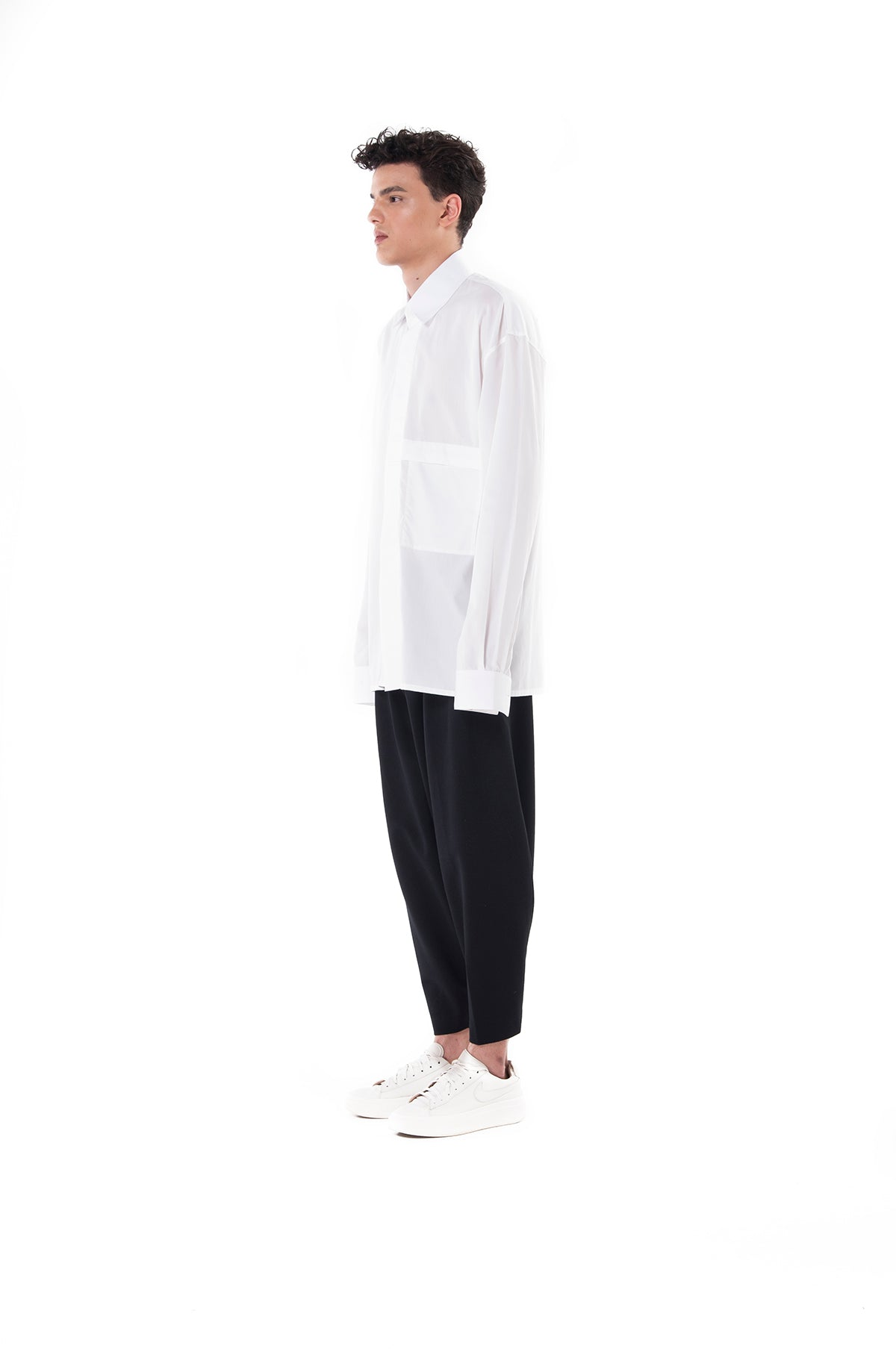 70ed0c878c White Long sleeves Oversized Shirt with Pocket