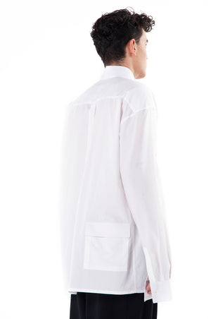 White Long sleeves Oversized Shirt with Pocket