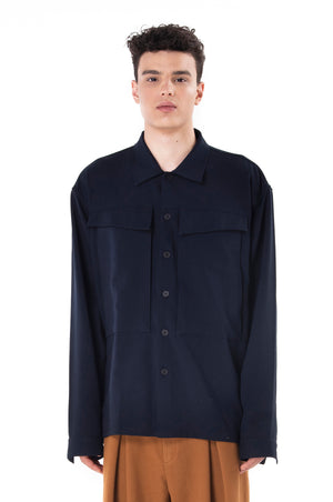 Navy Blue Outer Shirt with Extra Large Pocket