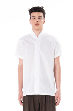 White Short Sleeves Collarless Shirt Part 3