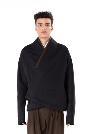 Black Wrapped Outer With Olive Detail