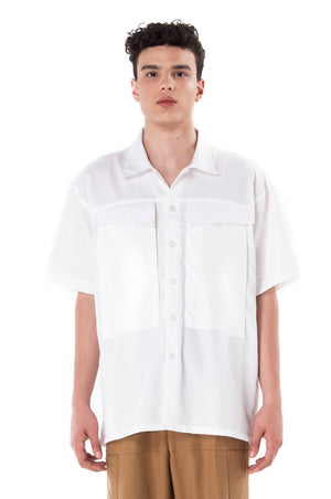 White Camp Collar Oversized Shirt