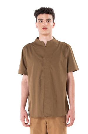 Green Olive Collarless pt.I Short Sleeves Shirt