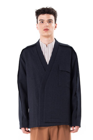 Unfinished Navy Layered Outer