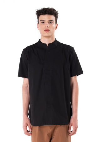 Black Collarless pt.I Short Sleeves Shirt