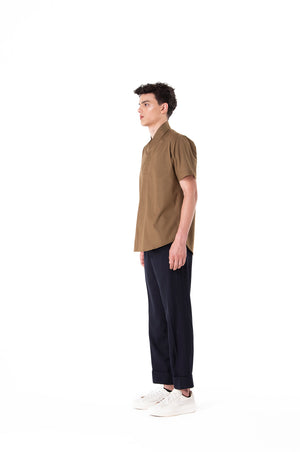 Green Olive Collarless pt.II Short Sleeves Shirt
