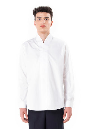 White Collarless pt.II Long Sleeves Shirt