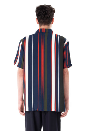 Camp-Collar Printed Stripped Shirt