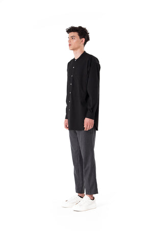 Black Collarless Long Sleeves Shirt with Side Pockets