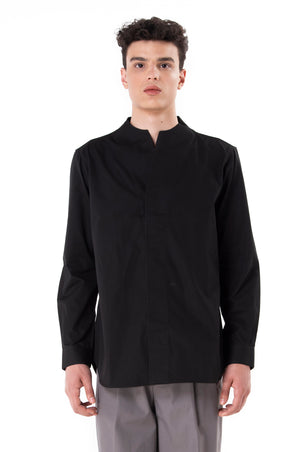 Black Collarless pt.I Long Sleeves Shirt