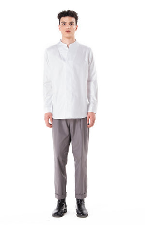 White Collarless pt.I Long Sleeves Shirt